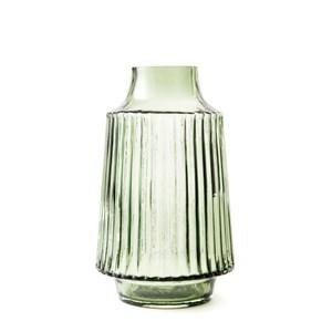 直紋透明花器墨綠20cm