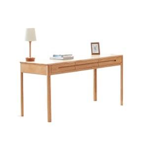 原木日式流雲白橡木實木三抽1.6M書桌w0532
