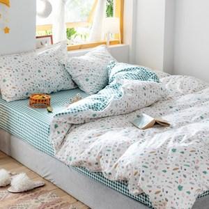 【Betrise夏意】單人防螨-100%精梳棉三件式鋪棉兩用被床包組