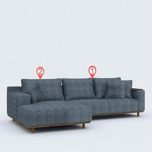 林氏木業實木扶手板可拆洗右L型三人布沙發(附抱枕)RAC2K-玄青色
