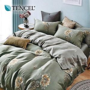 【貝兒居家寢飾】100%萊賽爾天絲兩用被床包組(特大/幽幽暗香綠)