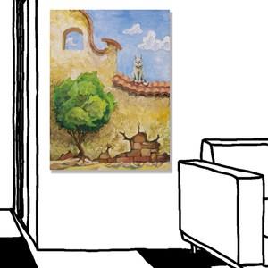【24mama掛畫】單聯式油畫布無框畫30x40cm-貓坐在牆上油畫布無時鐘