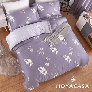 【HOYACASA】卉紫加大四件式抗菌天絲兩用被床包組
