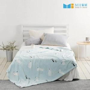 【MH家居】毛毯 法蘭絨毯 冷氣毯 韓國米克法蘭絨毛毯L薄荷 MH家居薄荷L