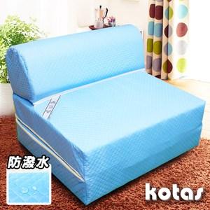 【KOTAS】高週波+防潑水彈簧沙發床/椅(單人三尺)-藍