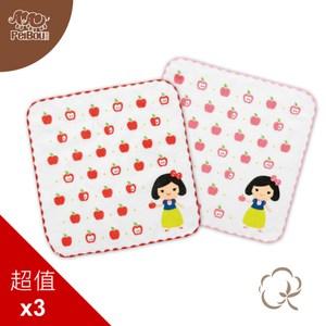 貝寶純棉抗菌紗布小方巾(3入)_白雪公主紅色3入
