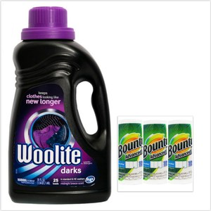 美國 Woolite濃縮冷洗精-深色衣物專用(50oz)*1+Bounty*3