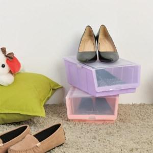【H&R安室家】繽紛彩色掀蓋式鞋盒6入組粉6