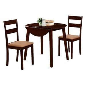 【YFS】格納胡桃色餐桌椅組-90x90x75cm(一桌二椅)