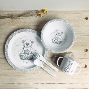 MATHILDE M.星星小熊兒童餐具套組灰白色