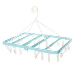 塑膠方形摺疊曬衣架 24夾 藍色