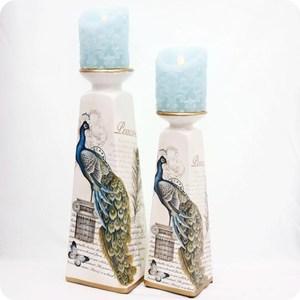 HONEY COMB 歐式奢華復古藍孔雀陶瓷燭台-小 EL05