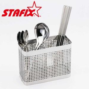 【韓國原裝進口STAFIX】全不銹鋼方形餐具筒13.5X6X11CM