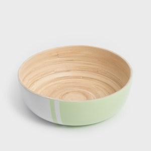 WAGA 清新南洋 25cm手工竹沙拉碗-粉豆綠