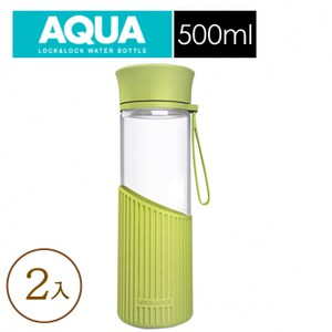 兩入-樂扣樂扣矽膠提帶耐熱玻璃水壺/直條/綠色