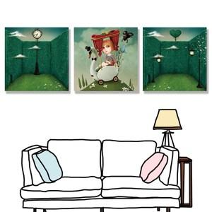 【24mama掛畫】三聯式 油畫布 無框畫30x30cm-幻想故事01油畫布無時鐘