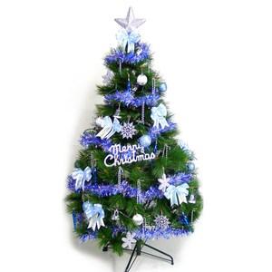 摩達客 台製7尺特級綠松針葉聖誕樹+藍銀色系配件組(不含燈)