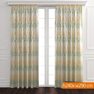 銀春緹花雙層遮光窗簾 寬290x高240cm