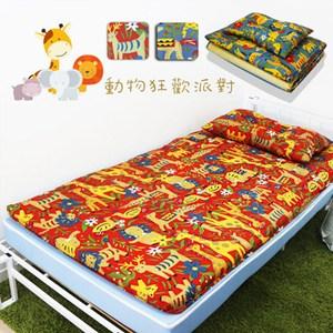 【KOTAS】冬夏透氣床墊 單人 3尺送記憶枕1顆 記憶枕 -動物派對-紅