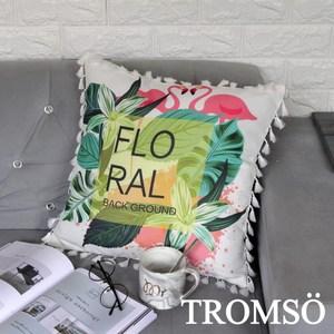 TROMSO風尚北歐小流蘇抱枕/火鶴綠葉