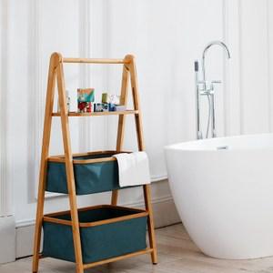 布藝竹製三層浴室落地置物架