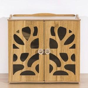 【佶之屋】木質DIY桌面雙門小物收納架胡桃