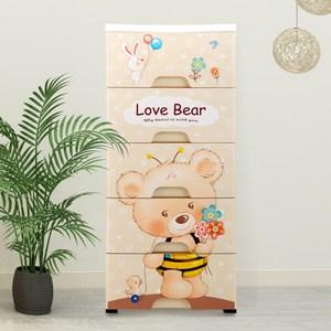 【IDEA】Love Bear蜜蜂小熊組合五層衣物附輪抽屜收納櫃