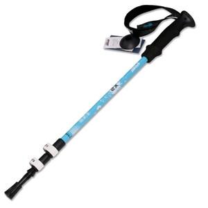 【PUSH! 戶外休閒登山用品】航空鋁合金鎢鋼杖尖調整式登山杖P68-2藍色