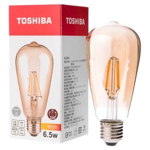 日本 TOSHIBA 東芝照明 6.5W LED仿古燈絲燈泡 燈泡色