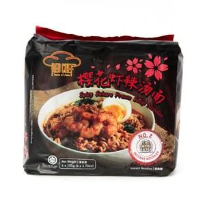 馬來西亞 紅廚 櫻花蝦辣湯風味包麵 105g 4入