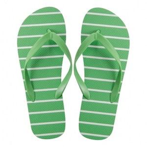 HOLA home舒活夾腳拖鞋 條紋綠色 XL