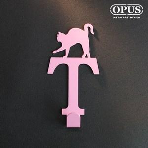 OPUS 歐式鐵藝壁飾掛勾/無痕掛鉤(當貓咪遇上字母T)粉