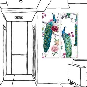 【24mama 掛畫】二聯式 油畫布 無框畫-30x80cm-富貴興旺