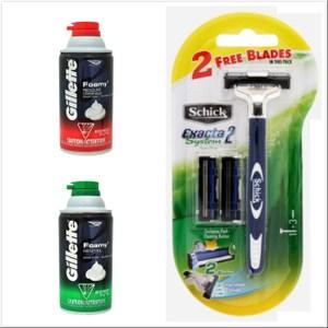 美國 Gillette 刮鬍泡 薄荷*3+香草*3共6入+Schick舒適刮鬍刀
