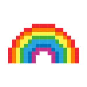 Kiss貼貼靜電無痕拼圖貼貼-彩虹