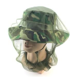 PUSH!戶外用品防蚊蟲網紗帽養蜂防護帽防蚊網罩2入P135軍綠色2入