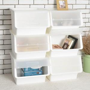 桃樂絲加大版二段掀蓋收納箱 (6入組)-透蓋白箱