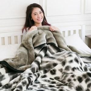 【米夢家居】鳴球100%超保暖雙層加厚安哥拉仿羊毛毯-斜紋雪豹