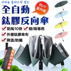 全自動鈦膠反向十骨晴雨傘綠色