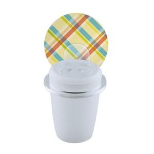 2EASY 台製無痕衛浴收納系列 牙刷杯架格紋霧白