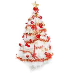 【摩達客】台灣製6尺(180cm)特級白色松針葉聖誕樹(紅金色系配件)(不含燈)