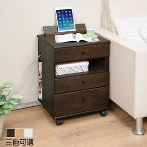 《C&B》設計家座充日式床頭邊桌櫃-木紋胡桃色