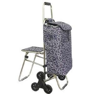 不鏽鋼六輪附椅爬樓梯購物車(升級靜音輪)