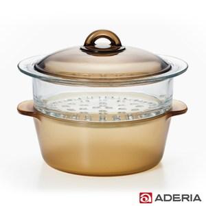 【ADERIA】日本進口雙層陶瓷塗層耐熱玻璃調理鍋2L
