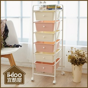 【ikloo】可移式漾彩粉嫩六層抽屜車/收納箱