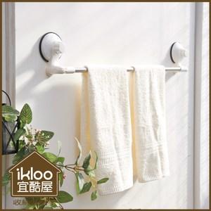 【ikloo】TACO無痕吸盤系列-不鏽鋼角落可用毛巾架