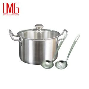 【LMG】304不鏽鋼吉品湯鍋18CM-雙耳+凡爾賽5號湯漏勺組