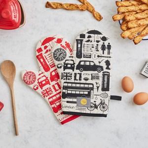 【英國蛋】純棉烤箱手套 模型倫敦紅色