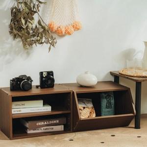 樂嫚妮 二層收納櫃 玩具空櫃-2入組-淺胡桃木色層板櫃&玩具櫃-淺胡桃木色