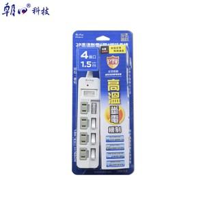 2P高溫斷電5開4插延長線15A1.5米